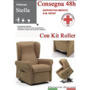 Il Benessere Poltrona Relax Stella completa di Alzapersona e Kit Roller 2 Motori Tessuto Lavabile Colore Marrone Tortora Classico Sfoderabile Consegna 48 Ore