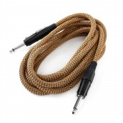 FrontStage 6,35mm-жак кабел, 3m, моно, текстил златно-черен (CJ-HC-6,3mm-6,3mm-3m)
