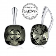 Silvego SILVEGO stříbrné náušnice se Swarovski(R) Crystals Black Diamond 12mm - VSW049E