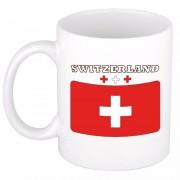 Bellatio Decorations Beker / mok met vlag van Zwitserland 300 ml - feest mokken