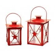 Coppia di Lanterne ROSSE - decorazione STELLA - set da 2 pezzi