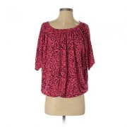 Ann Taylor LOFT Short Sleeve Top Red Print Scoop Neck Tops - Used - Size Small