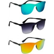 TheWhoop Wayfarer Sunglasses(Green, Black, Orange)