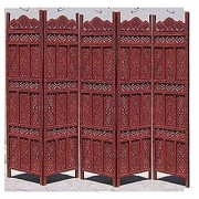 Shilpi Handicrafts Wooden Room Divider Screen Partition Made in Mango Wood Frame Jali in MDF Panel 5