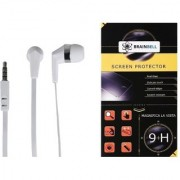 BrainBell COMBO OF UBON Earphone UH-197 BIG DADDY BASS NOICE ISOLATING CLEAR SOUND UNIVERSAL And OPPO F3 Tempered Scratch Guard