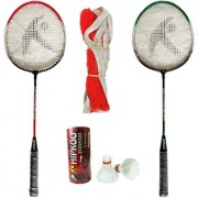 Hipkoo Toofani Wide Body Badminton Set ( 2 Rackets 3 Feather Shuttles and Net ) Free Bag Inside