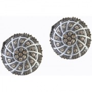 The99Jewel by JewelMaze Meenakari Austrian Stone Heart Rhodium Plated Stud Earrings-FAG0072