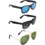 David Martin Wayfarer, Aviator Sunglasses(Blue, Grey, Green)
