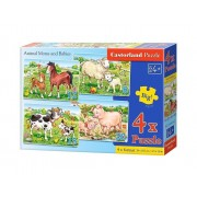 Puzzle 4 in 1 - Animale cu pui, 55 piese