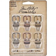 Tim Holtz Idea-ology Metal Buckles, Set of 6 Buckles and Fasteners, Assorted Finishes, TH93064