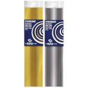 Haza 2x Crepe papier pakket goud/zilver 250 x 50 cm knutsel materiaal