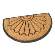 Kokosová čistící venkovní vstupní půlkruhová rohož Rays, FLOMAT - délka 45 cm, šířka 75 cm a výška 2,2 cm