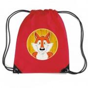 Bellatio Decorations Vos dieren trekkoord rugzak / gymtas rood voor kinderen