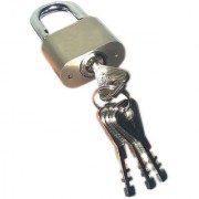 Stainless Steel Solid Pad Lock With 4 Steel CP Keys (Heavy Body High Security Pad Lock)(70mm.)