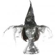 Palarie neagra cu argintiu si franjuri