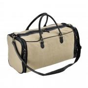 Corium® Чанта за пътуване, 27 x 54 x 23 см - спортна чанта (ръчен багаж) от еко кожа и лен- Бежова/черна