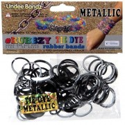 Undee Bandz Rubbzy 100 METALLIC BLACK & SILVER Tie-Dye Rubber Bands with Clips