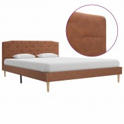 vidaXL Рамка за легло, кафява, плат, 140x200 см