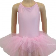 Танцувално (балетно) трико с презрамки и поличка за деца
