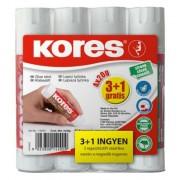 Ragasztóstift, 20 g, 3+1 akciós kiszerelés, KORES (IK873423A)
