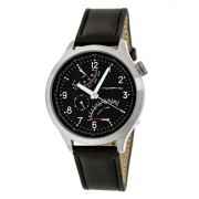 Morphic M44 Series Dual-Time Leather-Band Watch w/ Retrograde Date - Silver/Black MPH4401