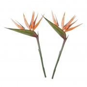 Mica Decorations 2x Paradijsvogelbloem kunstbloem oranje 90 cm