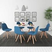 Set de masă cu scaune, 7 piese, alb și albastru