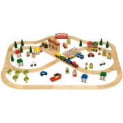 Fa vasút szett 101 darabos Town and Country Train Set BJT015
