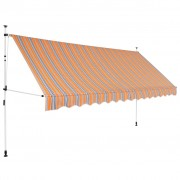 vidaXL Manual Retractable Awning 350 cm Yellow and Blue Stripes