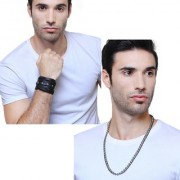 Criss Corss Wide Leaterite Black Color Bracelet For Men With Black And White Ball Chain For Funky Men in You Combo