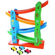 Happy GiftMart Colourful Wooden Track Race Set with 4 Colourful Miniature Cars Sliding Track Racer