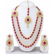 Best Deal Gold Plated Kundan Party Wear Traditional Necklace Jewellery Set for Women Girls