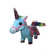 Sy Trading Inc My First Pony, Walk Along Toy Stuffed Plush Pony Toy, Realistic Walking Actions with Unicorn Sounds and Music (Blue)
