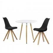 [en.casa]® Set de comedor mesa redonda blanca [Ø80cm] con 2 sillas negras tapizadas