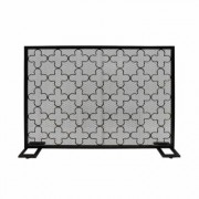 Noble House Alleghany Modern Black and Brushed Gold Single Panel Iron Fire Screen