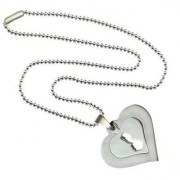 Men Style Two Hearts New Design Silver Stainless Steel Square Necklace Pendant For Men and Women