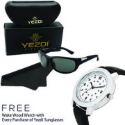 Yezdi Black Wrap Around Sunglass with UV 400 Glass Lens + Free Wake Wood Watch