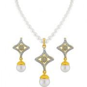 Sri Jagdamba Pearls Star Drop Pearl Pendant Set