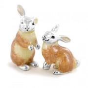 piccoli soprammobili in argento coppia di coniglietti