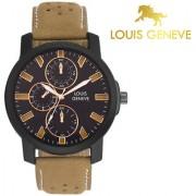 Louis Geneve Stylish Elegant Black Analog Round Wrist Watch For Men Boys -LG-MW-T-BLACK-046