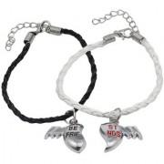 Men Style Heart Best Friend Couple Handmade Loves Valentines Days White Black Zinc Leather Bracelet