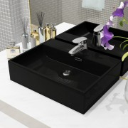 vidaXL Chiuvetă cu orificiu robinet, ceramică, 51,5x38,5x15 cm, negru
