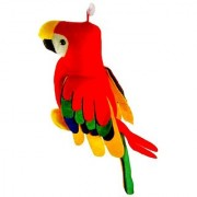 only4you Multicolour Furr and Cloth Musical Parrot with tail (30cm)
