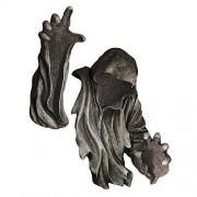 Design Toscano Estatua de jardín al Aire última intervensión con Soporte para Techo de Oso Negro, El Sigiloso: Escultura de Pared, Piedra Gris, 1