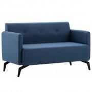 vidaXL 2-местен диван, тапицерия от плат, 115x60x67 см, син