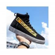 Zapatos de tabla plana tobillo punta redonda fashion-cool-hombre-negro