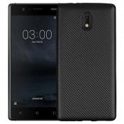 Capa Ultra Fino de TPU para Nokia 3 - Fibra de Carbono - Preto