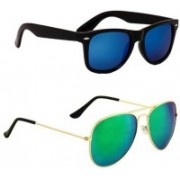 Marc Jones Wayfarer, Aviator Sunglasses(Blue, Green)