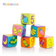 Kidsbele Baby Block Toy 6PCS Soft Cotton Rattle Handbell Itty-Bitty 7CM Colorful Cube Kids Toy Crib Bed Learning Baby Toys 0-12 Months