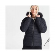 Swarovski Embellished - Women's Glamorize II Waterproof Insulated Quilted Fur Trim Hooded Luxe Ski Jacket Black